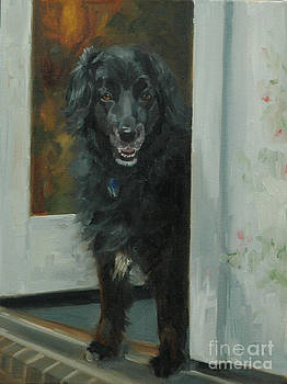 Black Dog in Doorway by Pet Whimsy  Portraits