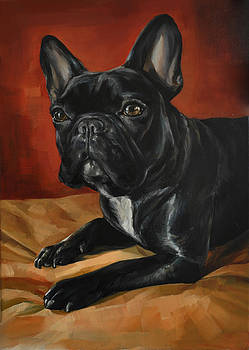Black French Bulldog by Mercury Hour