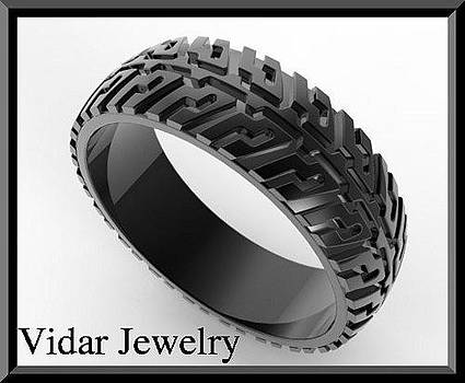 Black Gold Tire Tread Men Wedding Ring by Roi Avidar