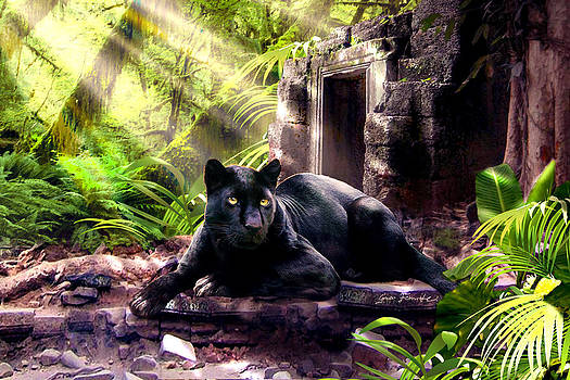 Black Panther Custodian of Ancient Temple Ruins  by Gina Femrite