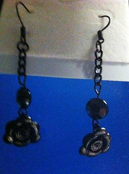 Black Rose Earrings by Kimberly Johnson