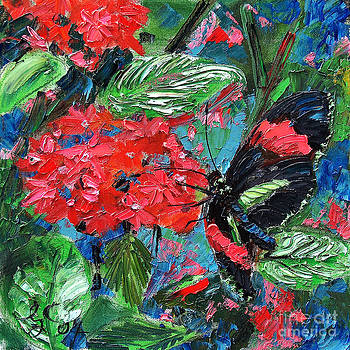 Ginette Callaway - Black Tropical Butterfly on Red Flowers
