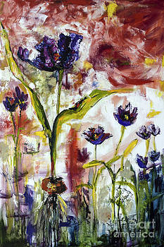Ginette Callaway - Black Tulips Expressive Oil and Ink Painting