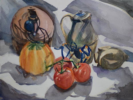 Black Widow and Orange kneed Tarantula With Tomatoes Squash and Buddha Head. by Margaret Montgomery