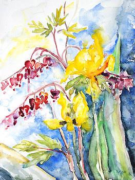 Bleeding Heart With Tulips by Barbara Pommerenke