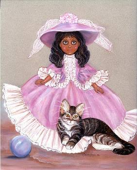 Blk Doll. and miss kitty by Carole Joyce