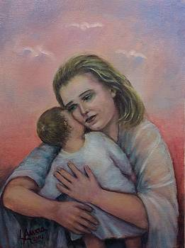 A Blonde Mother with Child  by Laila Awad Jamaleldin