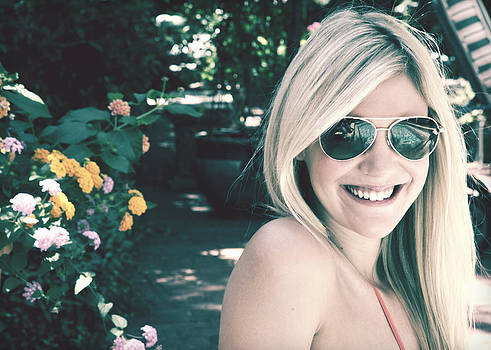 Blonde Girl with Sunglasses by Jan Marvin by Jan Marvin