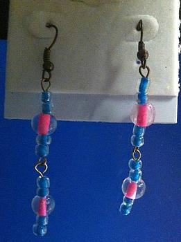 Blue and Pink Earrings by Kimberly Johnson