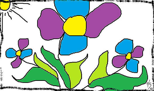 Blue and Purple flowers by Vivian Sutherland