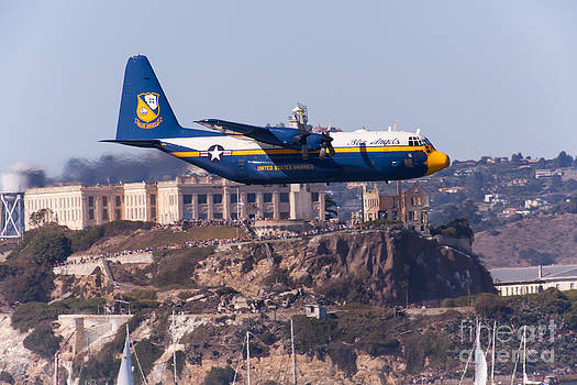 Wingsdomain Art and Photography - Blue Angels Fat Albert C130T Hercules Through San Francisco Alcatraz Island At Fleet Week 5D29571