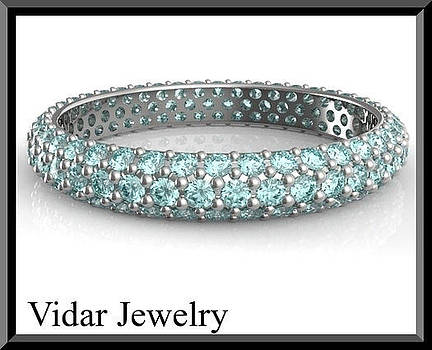 Blue Aquamarine 14k White Gold Woman Wedding Ring by Roi Avidar
