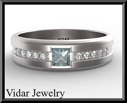 Blue Aquamarine And Diamond 14kt White Gold Men's Wedding Ring by Roi Avidar