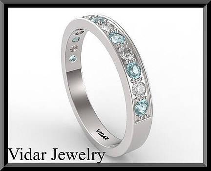 Blue Aquamarine And Diamond Half Eternity 14kt White Gold Wedding Ring by Roi Avidar