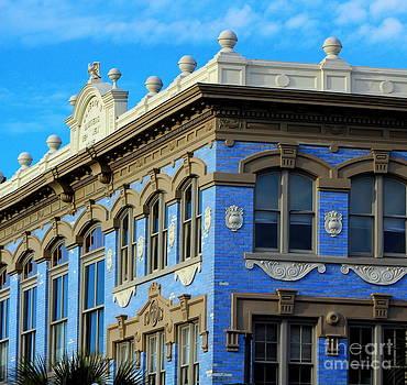 Building CityScape Blue On Blue by Pete Dionne