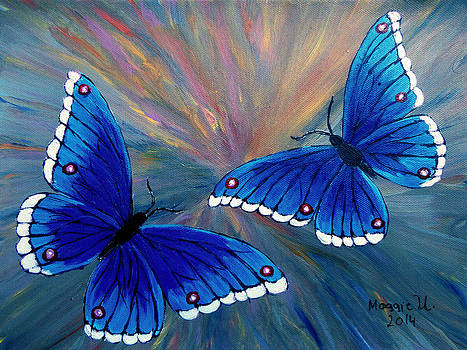 Blue butterfies by Maggie Ullmann