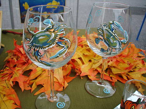 Blue Crabs on Wine Glasses by Sarah Grangier