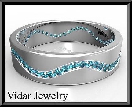 Blue diamond 14k White Gold Men's Wedding Ring by Roi Avidar