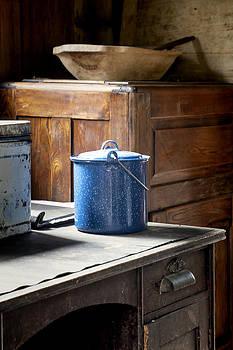 Blue Enameled Pot by Lynn Palmer