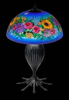 Blue floral Lamp by Mikael  Darni