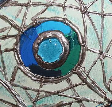 Blue Green and Gold Circle by Cynthia Snyder