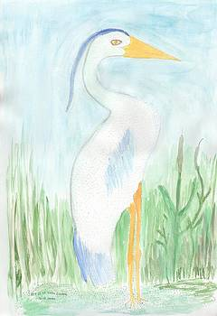 Blue Heron in the Tules by Helen Holden-Gladsky