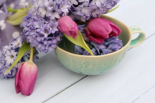 Blue Hyacinth with Tulips by Emma Manners