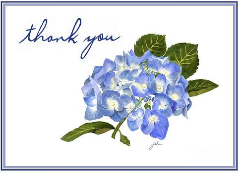 Blue Hydrangea Notecard by Joan A Hamilton