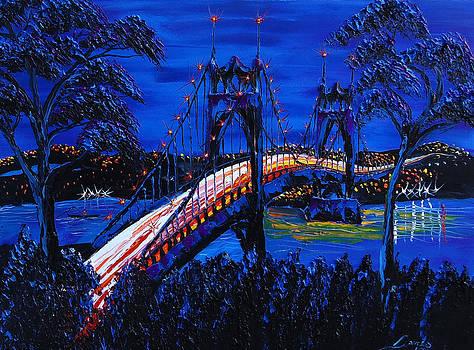 Blue Night Of St. Johns Bridge 12 by Portland Art Creations