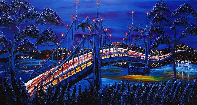 Blue Night Of St. Johns Bridge #14 by Portland Art Creations