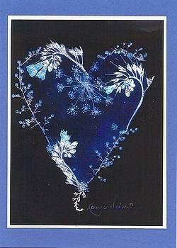 Blue on Black Heart  by Karen Nelson
