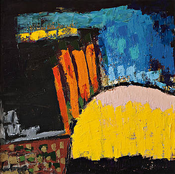 Blue Orange and Yellow Abstract by Maggis Art