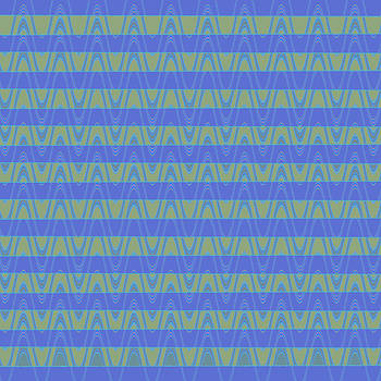 Ricki Mountain - Blue Pattern Wave Art