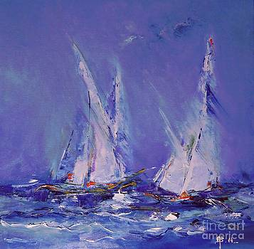 Blue Sailing by AmaS Art