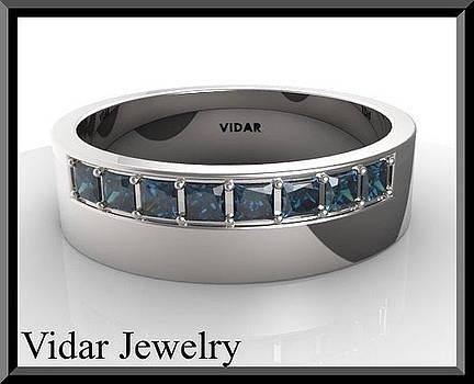 Blue Sapphire 14k White Gold Men's Wedding Ring by Roi Avidar