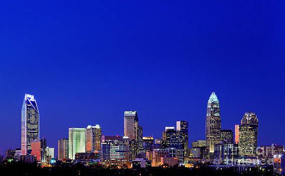 Blue skyline of Charlotte NC by Patrick Schneider