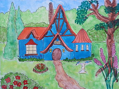 Blue Storybook Cottage by Karleen Kareem