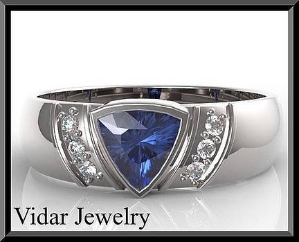 Blue Tanzanite And Diamond 14k White Gold Men's Wedding Ring by Roi Avidar