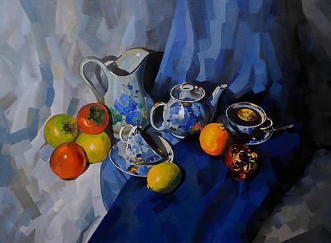 Blue tea set by Elena Bespalova