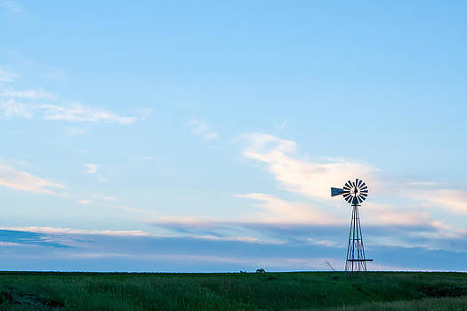 Blue Windmill on the Plains by Dawn Romine