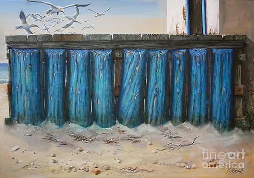 Boardwalk at Platanias by Yvonne Ayoub