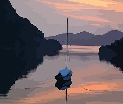 Tracey Harrington-Simpson - Boat At Bozburun At Sunset Vector Image