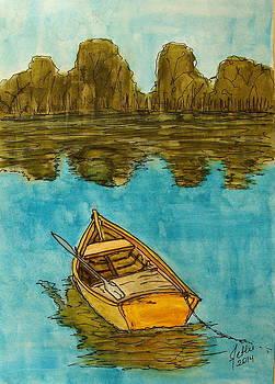 Boat at Lake by Fethi Canbaz