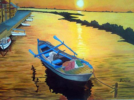 Boat at Sunset by John Davis