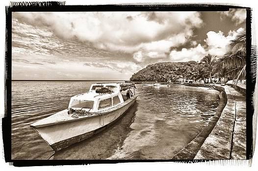 Boat by the Ocean Sepia by JM Photography