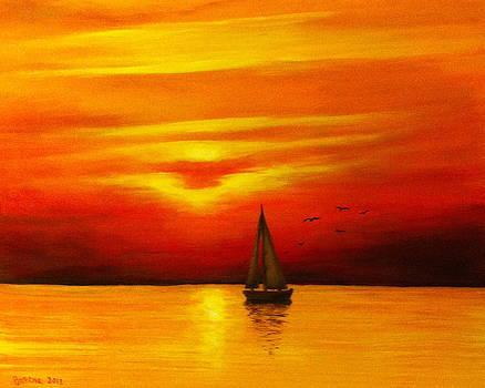 Boat in the Sunset by Bozena Zajaczkowska