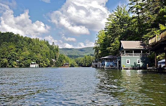 Boathouses on the Lake by Susan Leggett