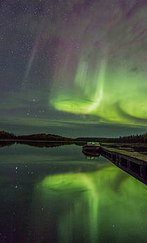Boating Beneath The Aurora by Valerie Pond