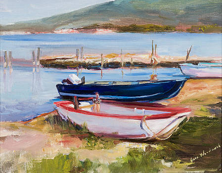 Boats at Lake Tresimeno by Jane Woodward