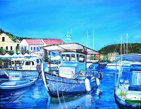 Boats in Fiskardo Harbour Kefalonia by Robina Osbourne